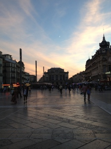 view of the Place de la Comedie in Montpellier
